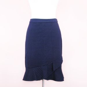Banana Republic Navy Textured Ruffle Skirt